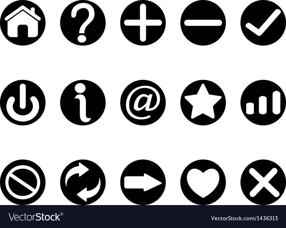 Black interface button icons vector | Price: 1 Credit (USD $1)