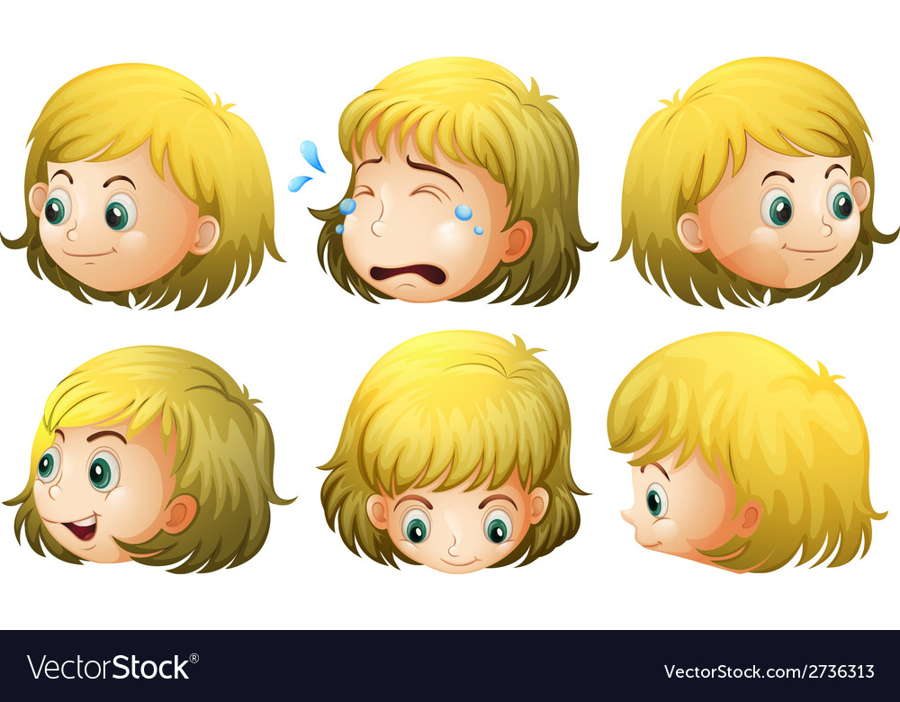 Blonde girl expressions vector | Price: 1 Credit (USD $1)