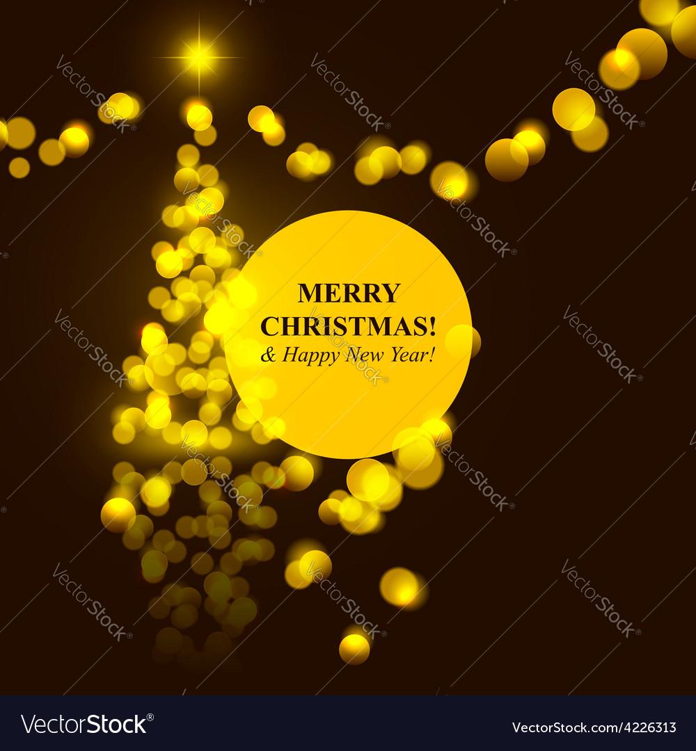 Christmas tree golden lights vector | Price: 1 Credit (USD $1)