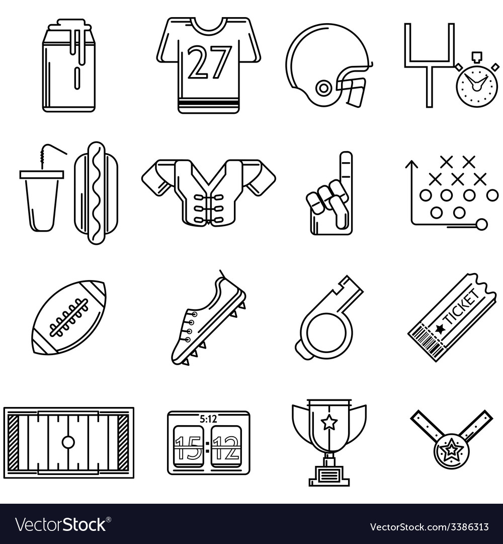 Contour icons for american football vector | Price: 1 Credit (USD $1)
