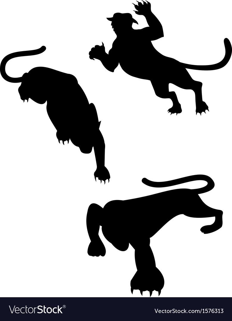 Wild feline silhouettes vector | Price: 1 Credit (USD $1)