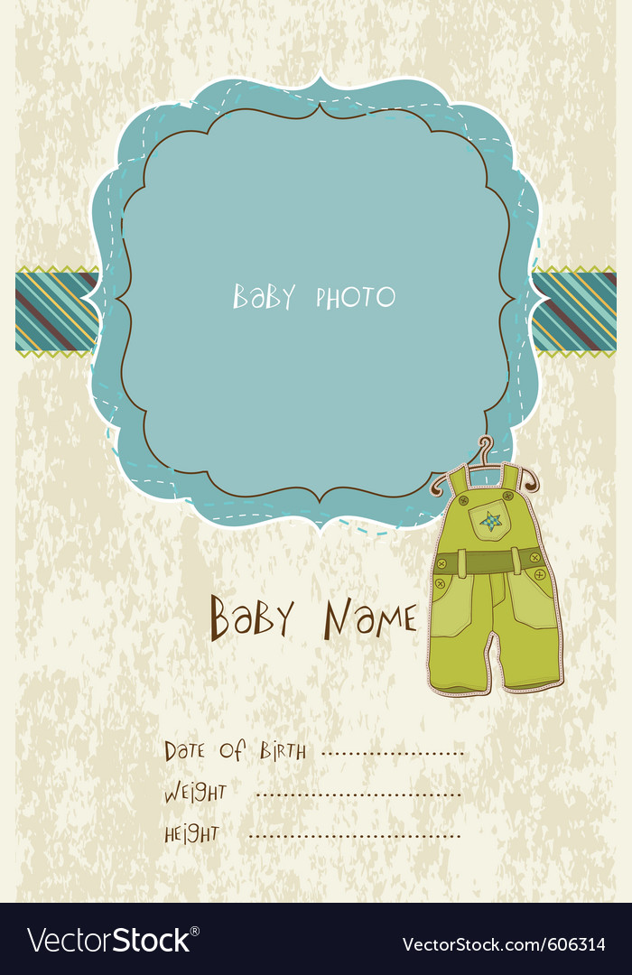 Baby arrival card with photo frame in vector | Price: 1 Credit (USD $1)