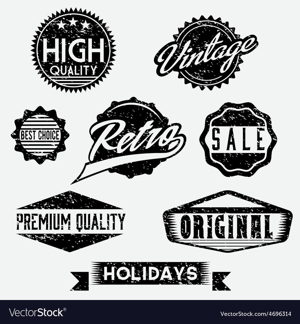 Black and white grunge retro stamps and badges vector | Price: 1 Credit (USD $1)