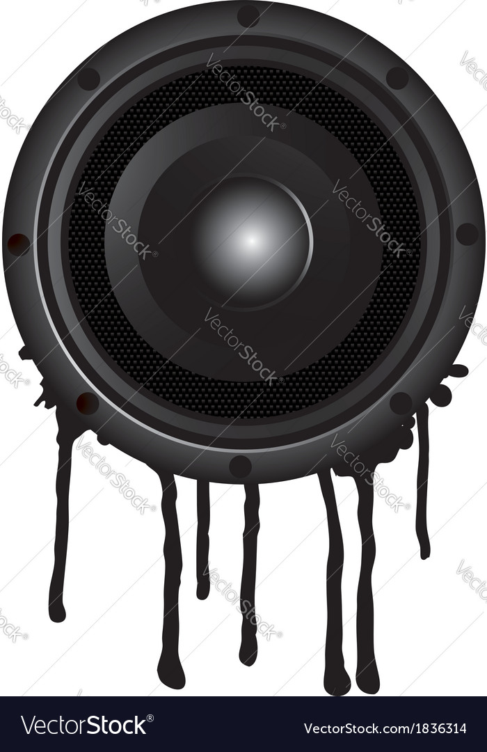Black speaker and splash vector | Price: 1 Credit (USD $1)