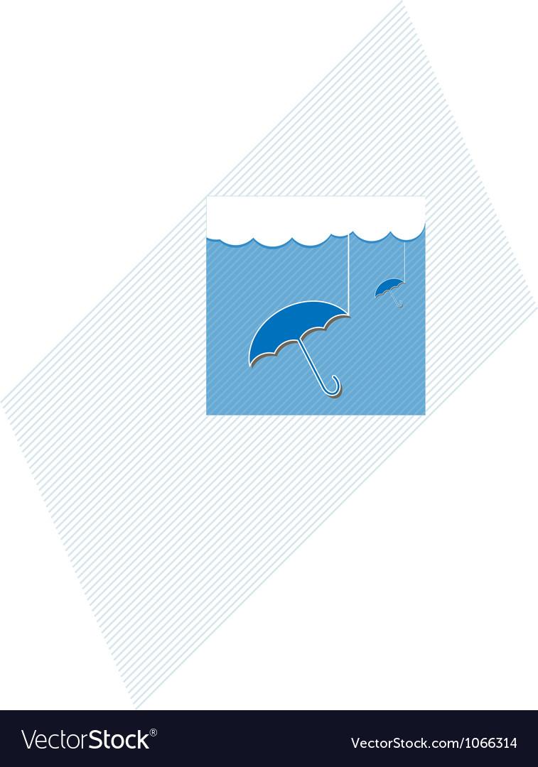 Blue umbrella and cloud vector | Price: 1 Credit (USD $1)