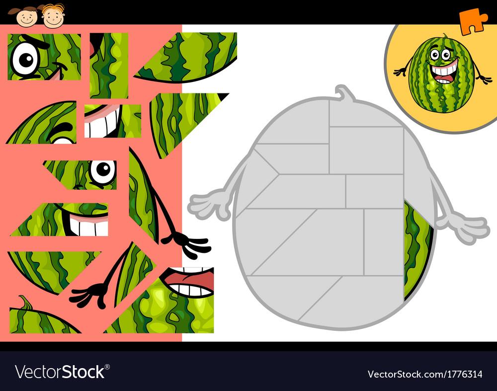 Cartoon watermelon jigsaw puzzle game vector | Price: 1 Credit (USD $1)