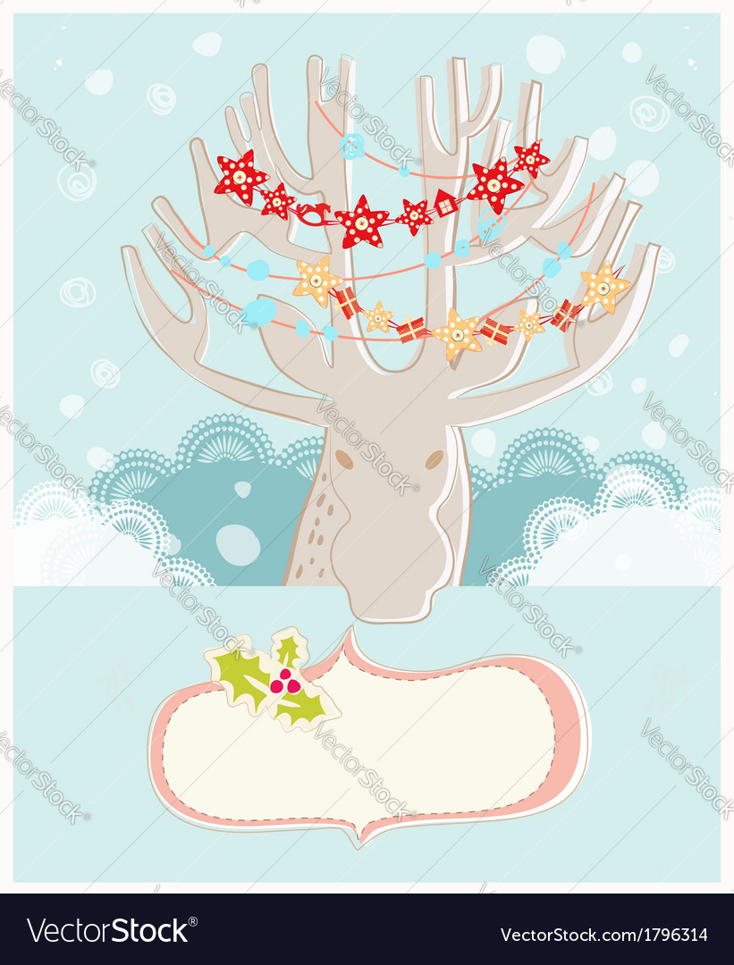 Christmas reindeer new year greeting card vector | Price: 1 Credit (USD $1)
