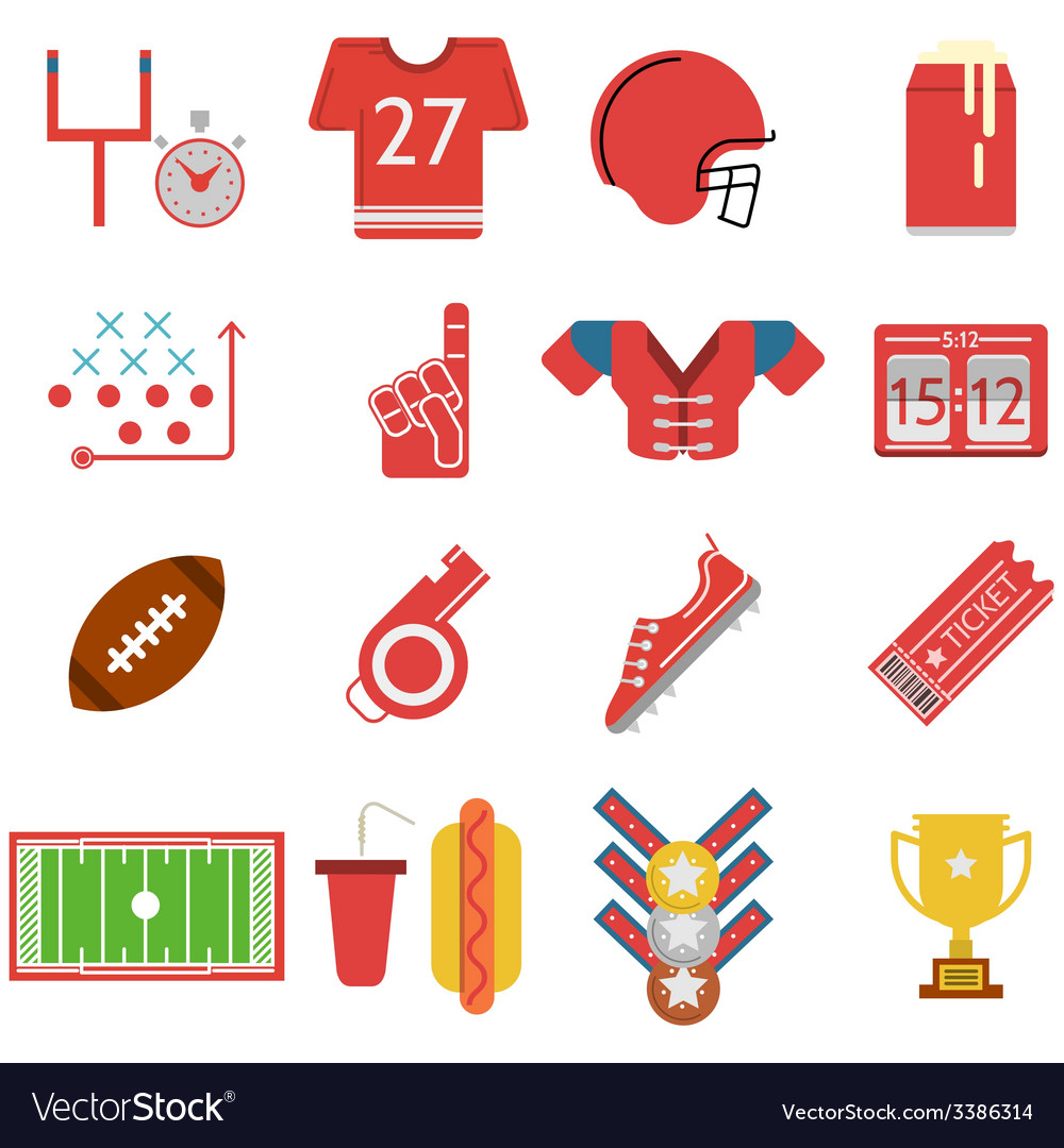 Colored icons for american football vector   Price: 1 Credit (USD $1)