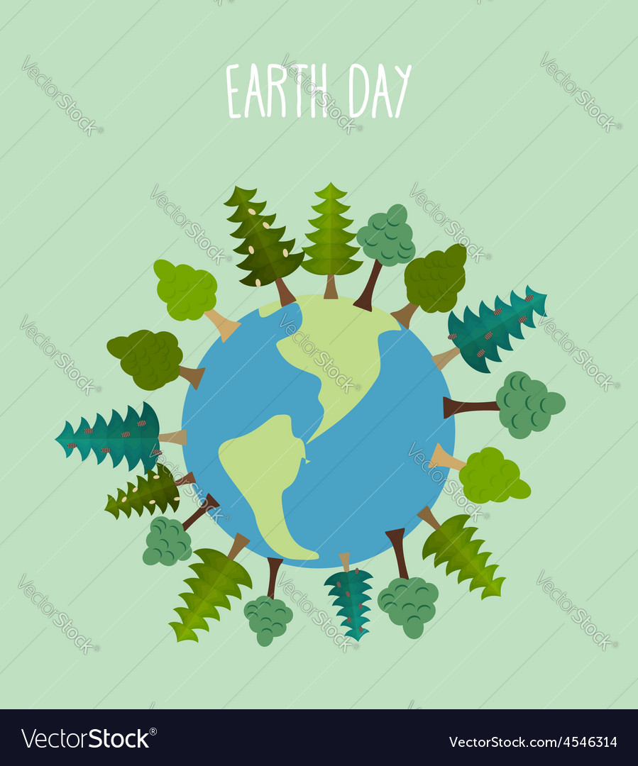 Earth day earth with trees geometric trees and vector   Price: 1 Credit (USD $1)