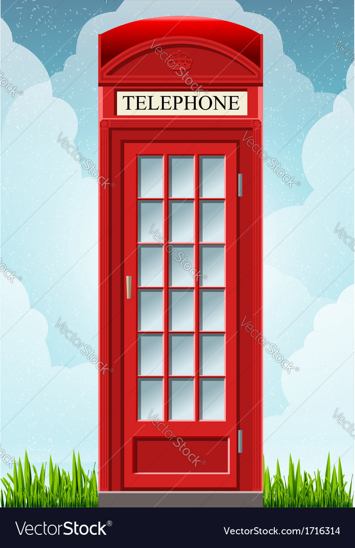 English red telephone cabin on the grass vector | Price: 1 Credit (USD $1)