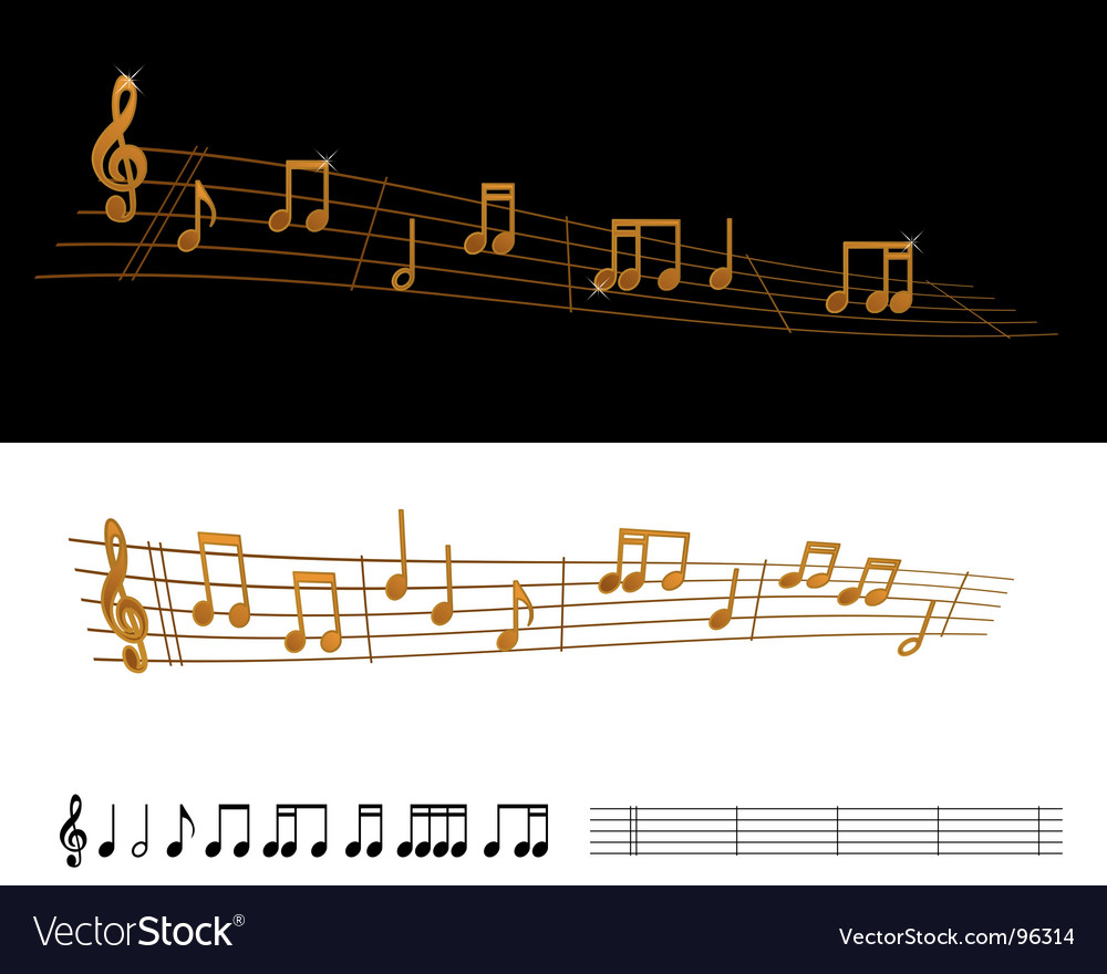 Gold sheet music vector | Price: 1 Credit (USD $1)