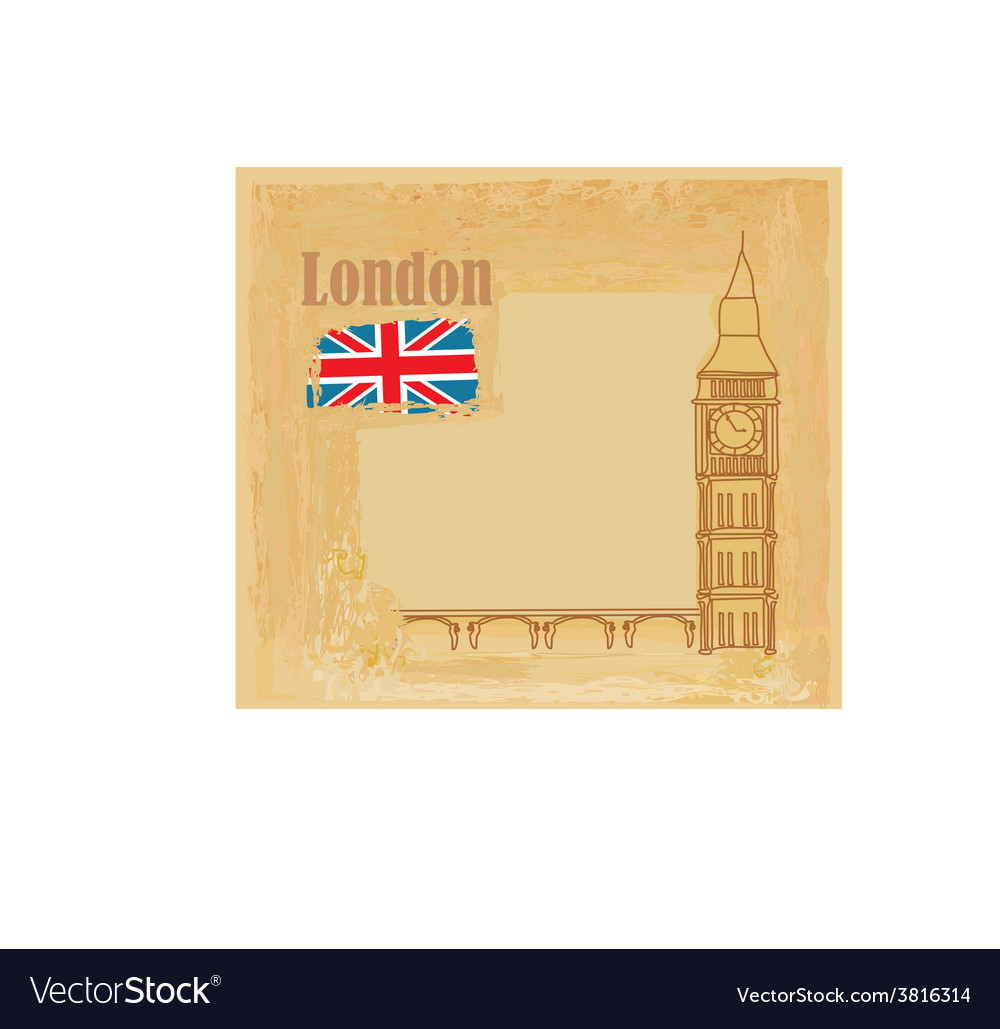 Grunge banner with big ben in london vector | Price: 1 Credit (USD $1)