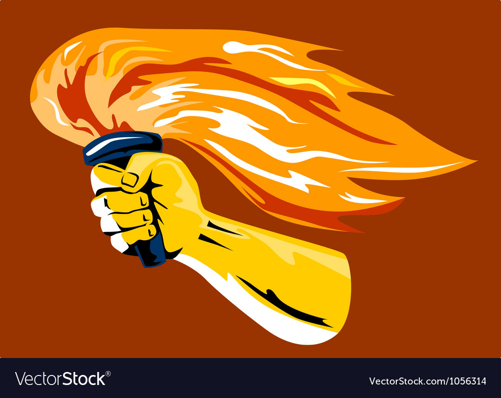 Hand holding burning flaming torch vector | Price: 1 Credit (USD $1)