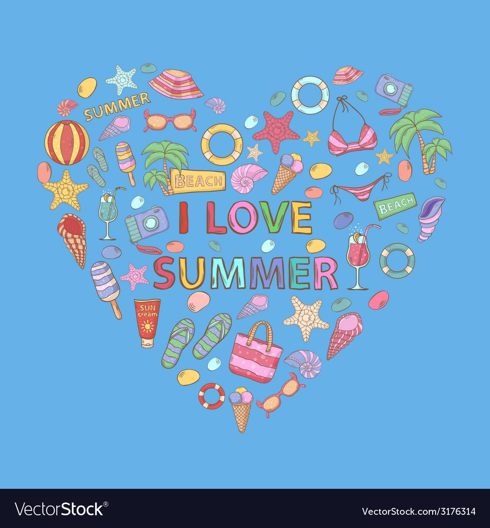 I love summer in the shape of heart vector | Price: 1 Credit (USD $1)