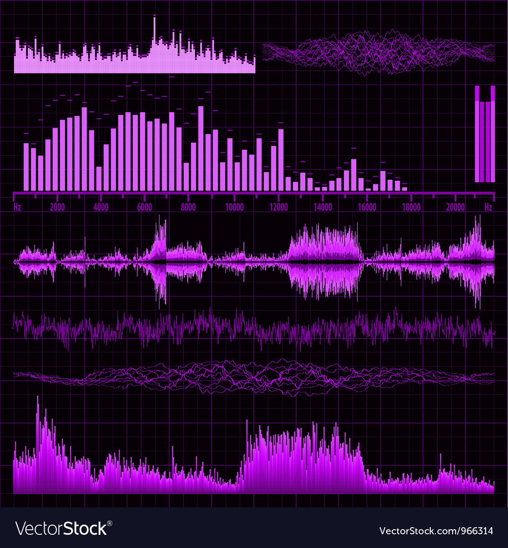 Music sound waves set vector | Price: 1 Credit (USD $1)