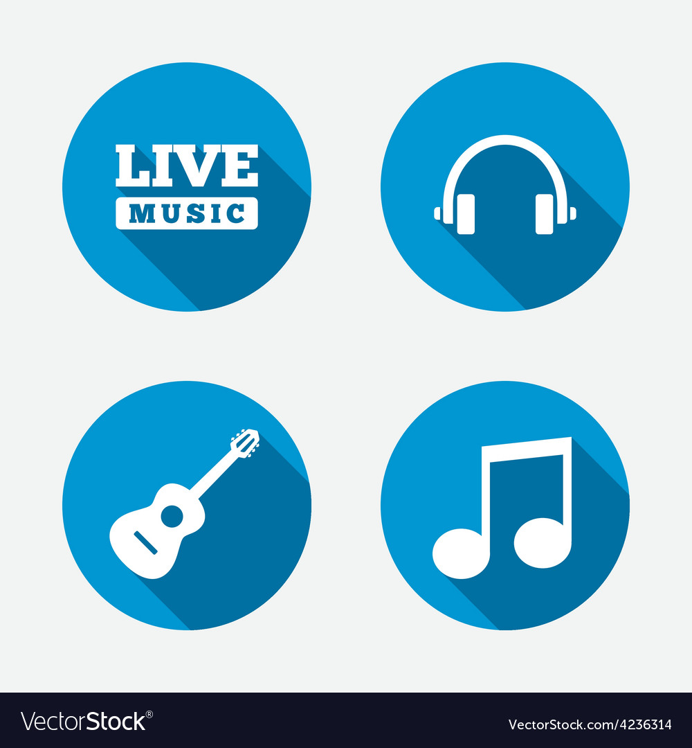 Musical elements icon music note and guitar vector | Price: 1 Credit (USD $1)