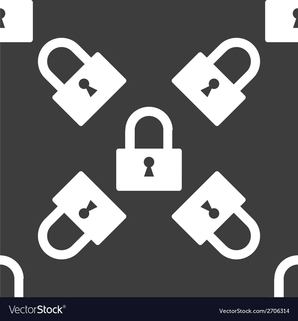 Padlock web icon flat design seamless pattern vector | Price: 1 Credit (USD $1)