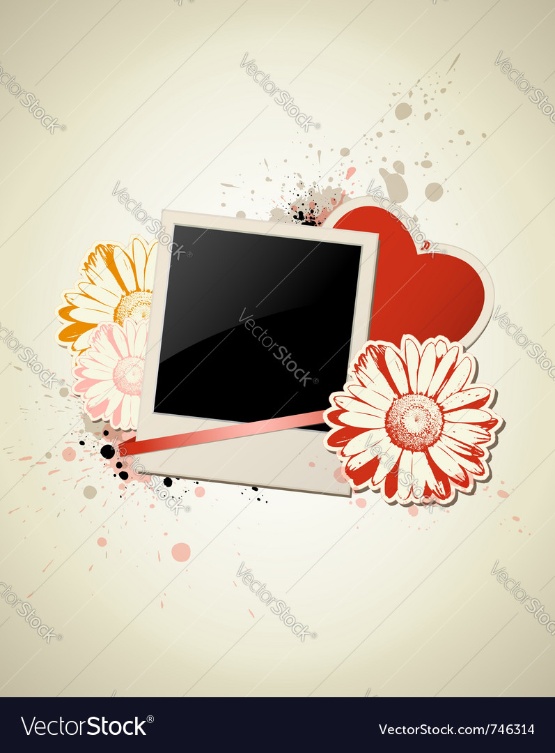 Photo frame with heart and flower on a grunge back vector | Price: 1 Credit (USD $1)