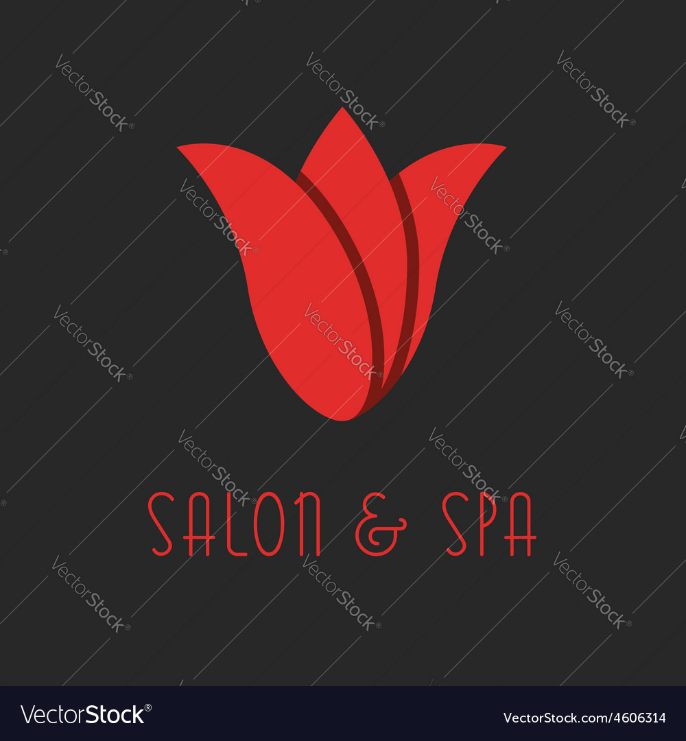 Red tulip logo beauty flower design salon emblem vector | Price: 1 Credit (USD $1)