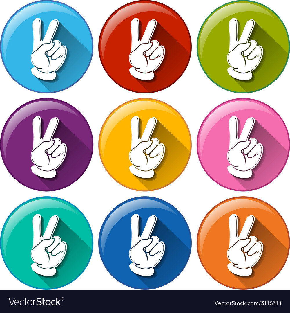 Round icons with hands vector | Price: 1 Credit (USD $1)