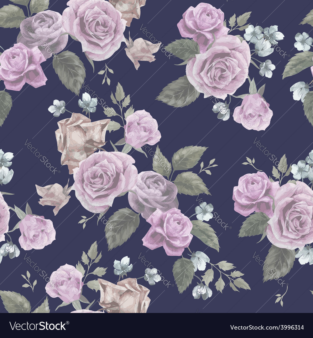 Seamless floral pattern with pink roses on dark vector | Price: 1 Credit (USD $1)