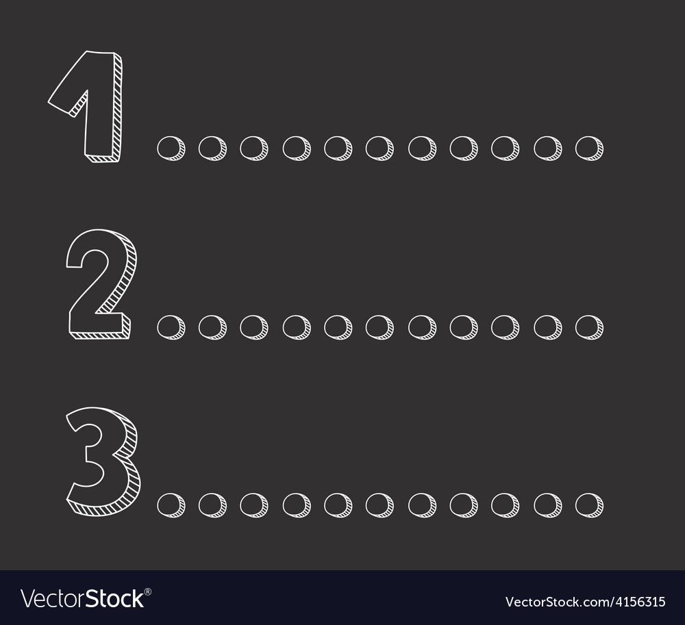 1 2 3 points on dark chalkboard vector | Price: 1 Credit (USD $1)