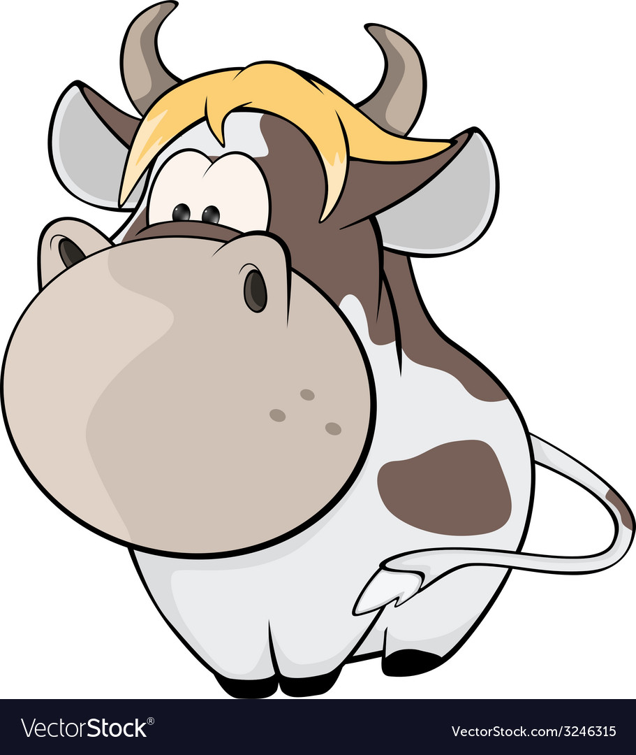 A small cow cartoon vector | Price: 1 Credit (USD $1)