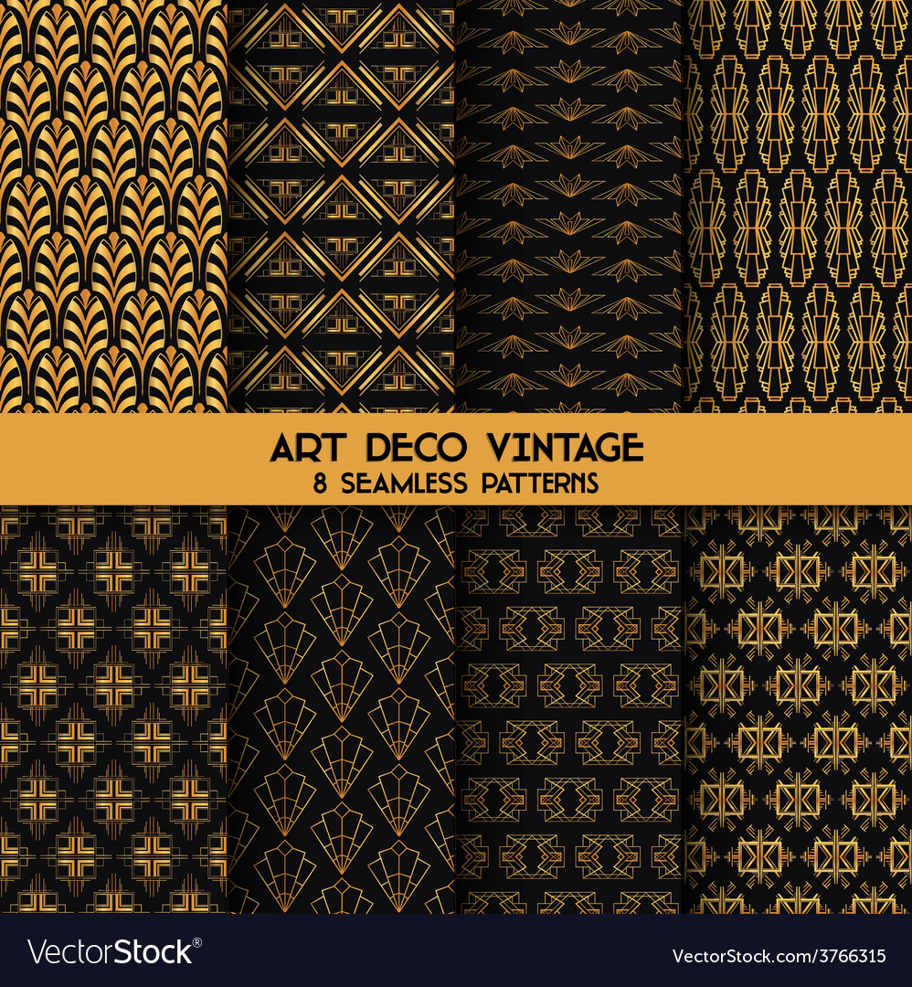 Art deco vintage patterns - 8 seamless backgrounds vector | Price: 1 Credit (USD $1)