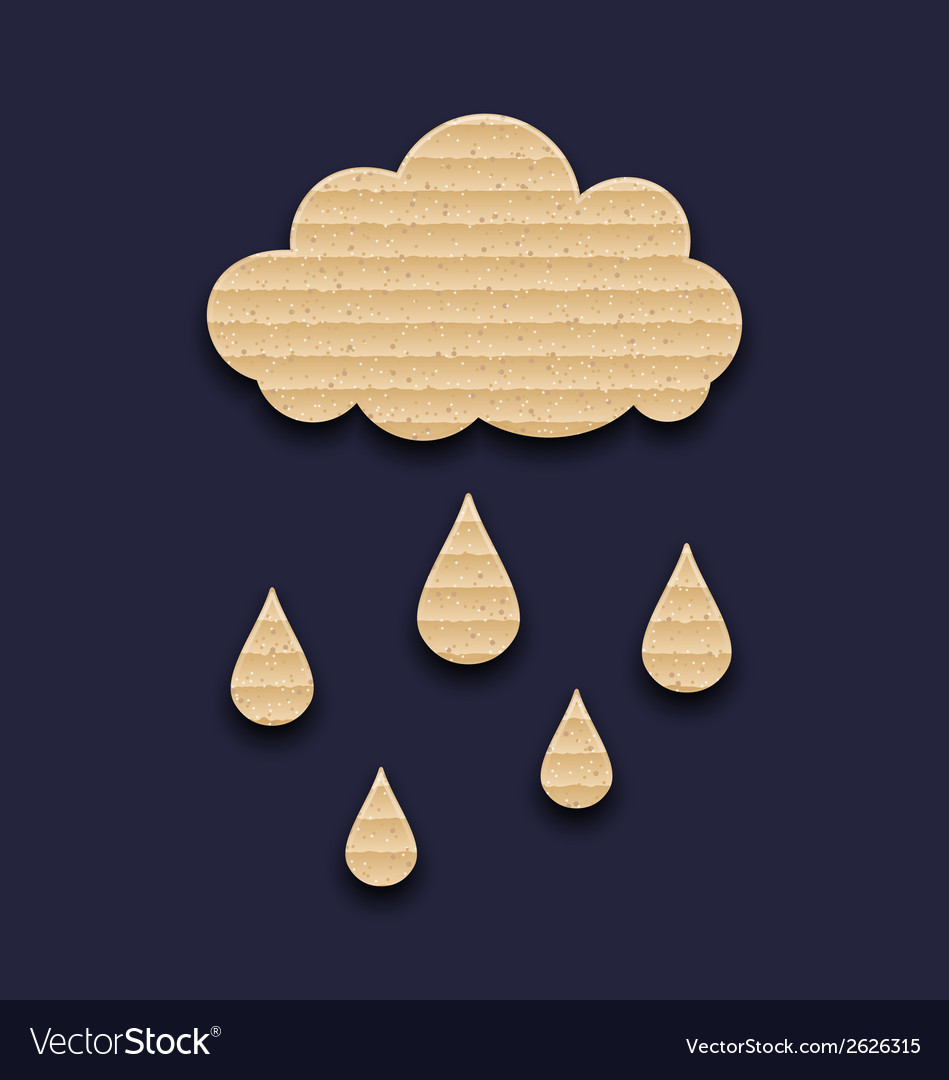 Carton paper cloud with rain drops vector | Price: 1 Credit (USD $1)