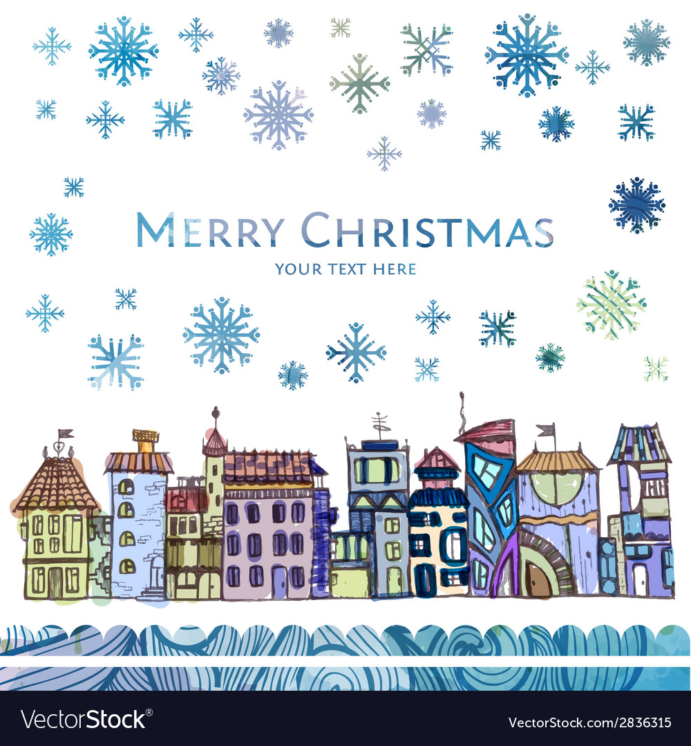 City winter watercolor christmas background vector | Price: 1 Credit (USD $1)