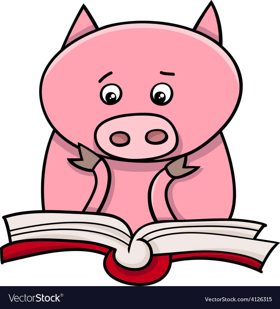 Learning piglet cartoon vector | Price: 1 Credit (USD $1)