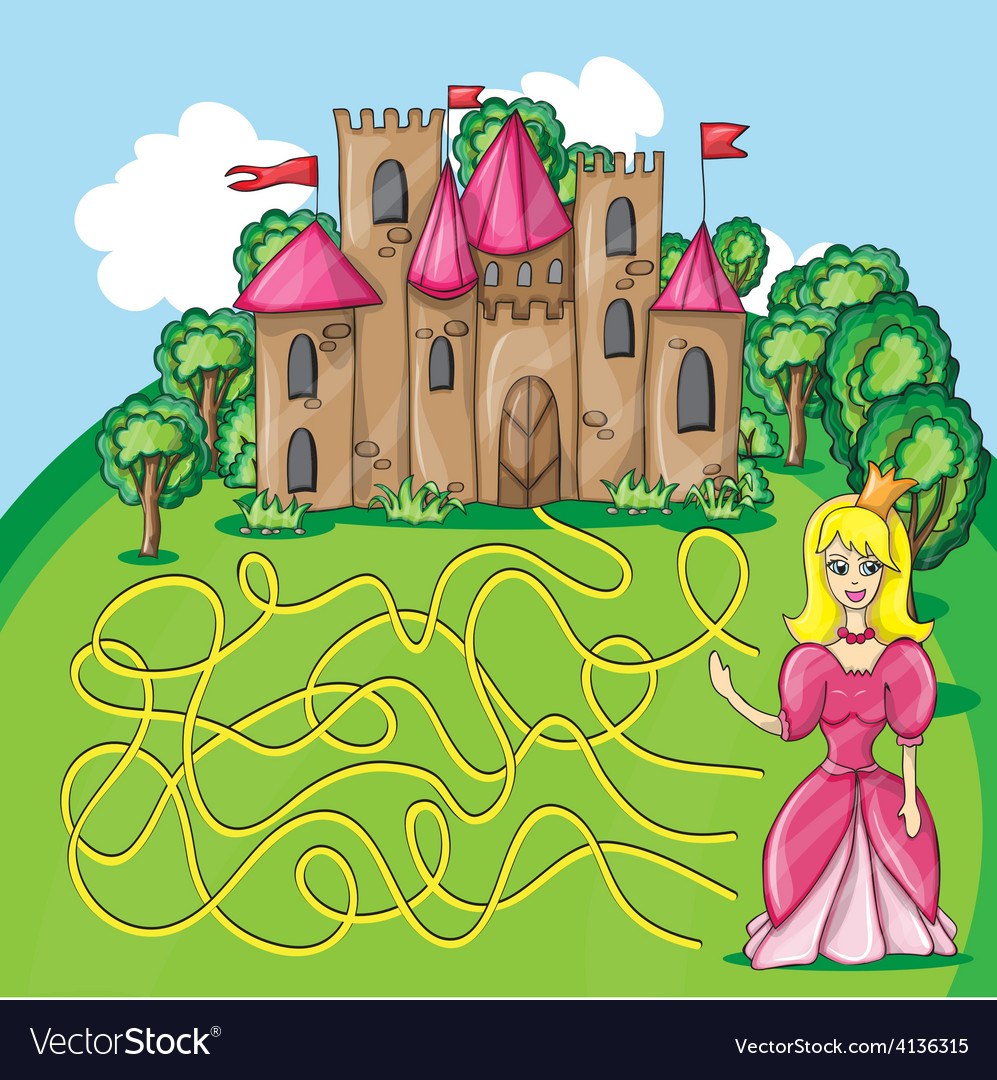 Maze game  hehp princess find the way to her vector