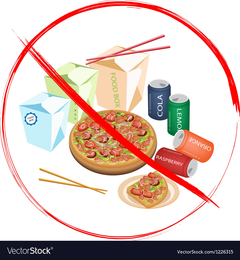 No eat sweet drinks and fast food vector | Price: 3 Credit (USD $3)