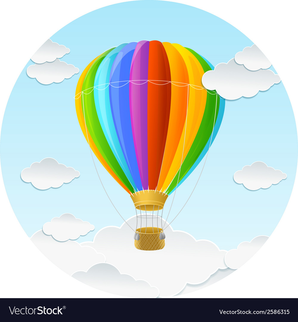 Rainbow air ballon and clouds vector | Price: 1 Credit (USD $1)