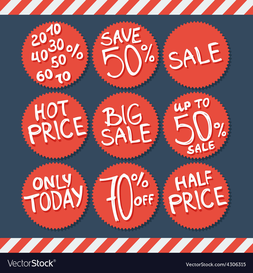 Sale labels and stickers with hand written text vector | Price: 1 Credit (USD $1)