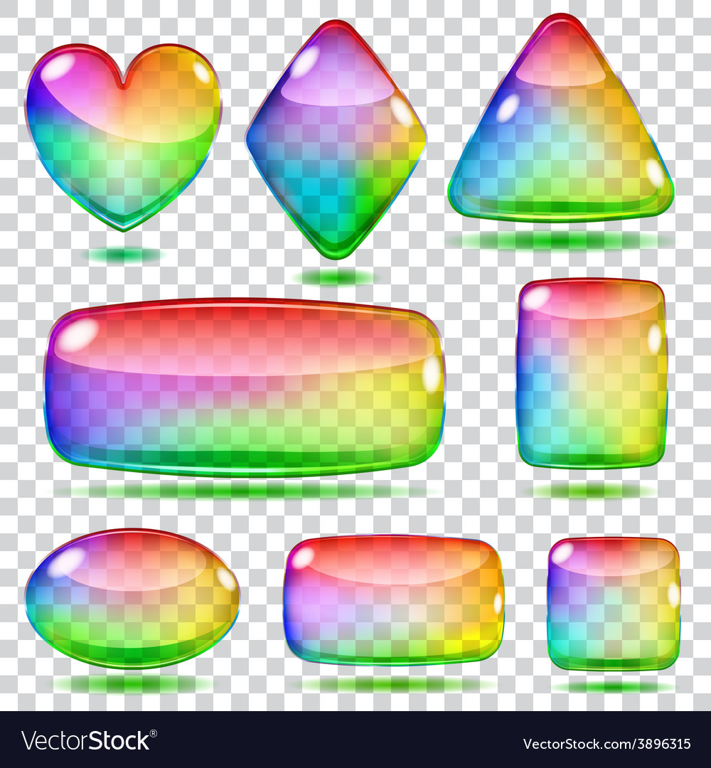 Set of transparent glass shapes vector   Price: 1 Credit (USD $1)