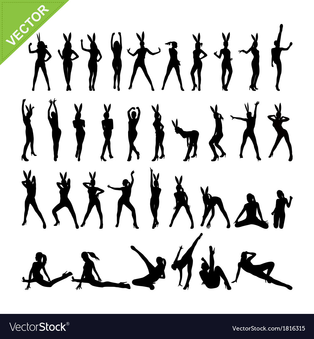Sexy women and dancing silhouettes set 13 vector | Price: 1 Credit (USD $1)