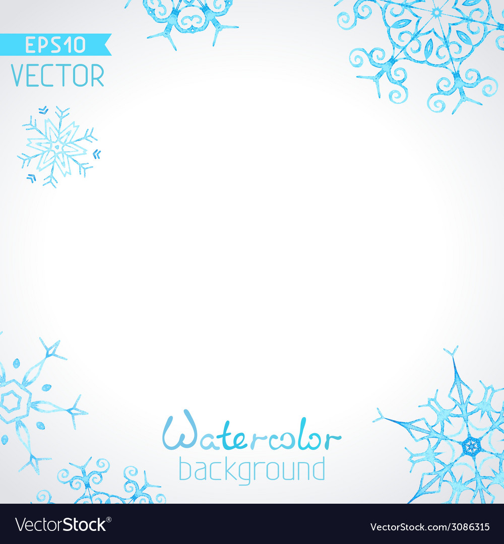 Watercolour background of snowflakes vector | Price: 1 Credit (USD $1)