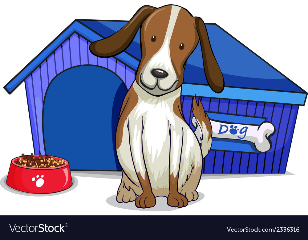 A dog outside the blue house vector | Price: 1 Credit (USD $1)