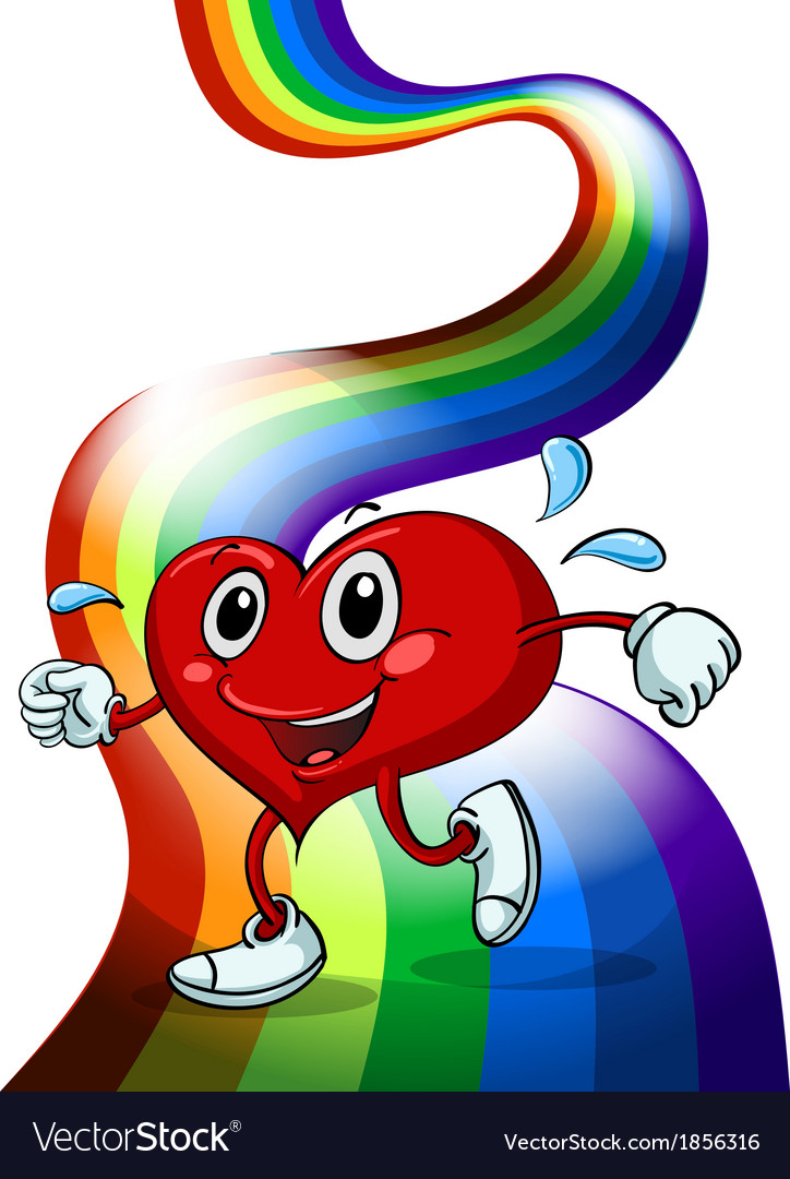 A heart walking above the rainbow vector | Price: 3 Credit (USD $3)