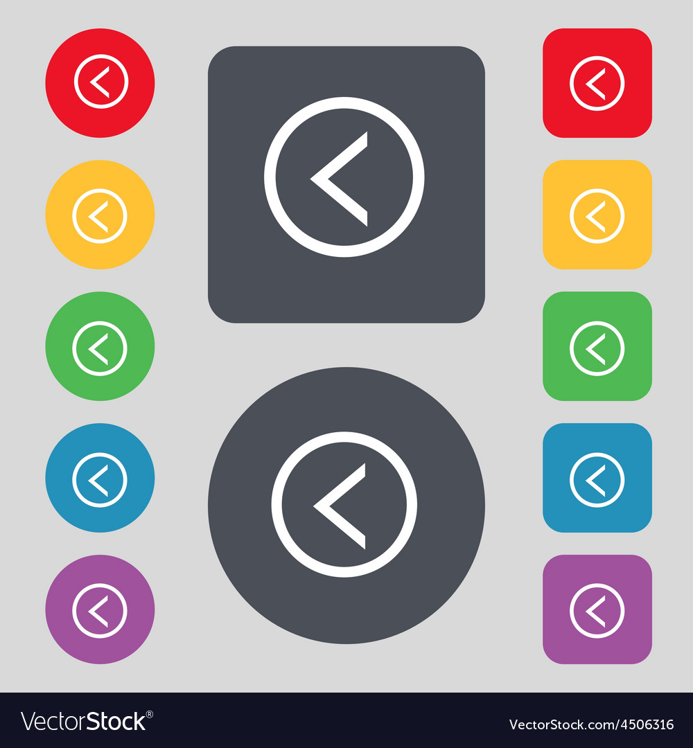 Arrow left way out icon sign a set of 12 colored vector   Price: 1 Credit (USD $1)