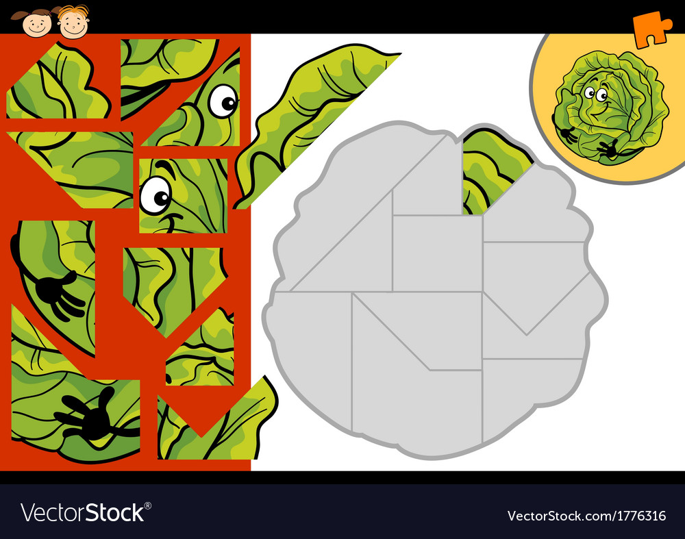 Cartoon cabbage jigsaw puzzle game vector | Price: 1 Credit (USD $1)