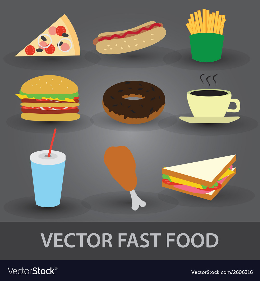Color fast food icons eps10 vector | Price: 1 Credit (USD $1)
