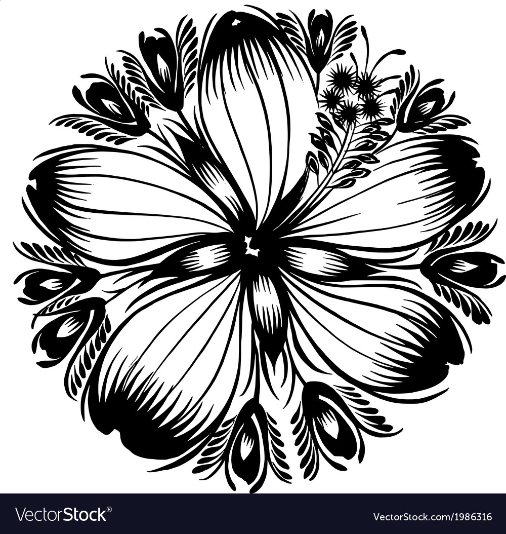 Decorative silhouette hibiscus vector | Price: 1 Credit (USD $1)