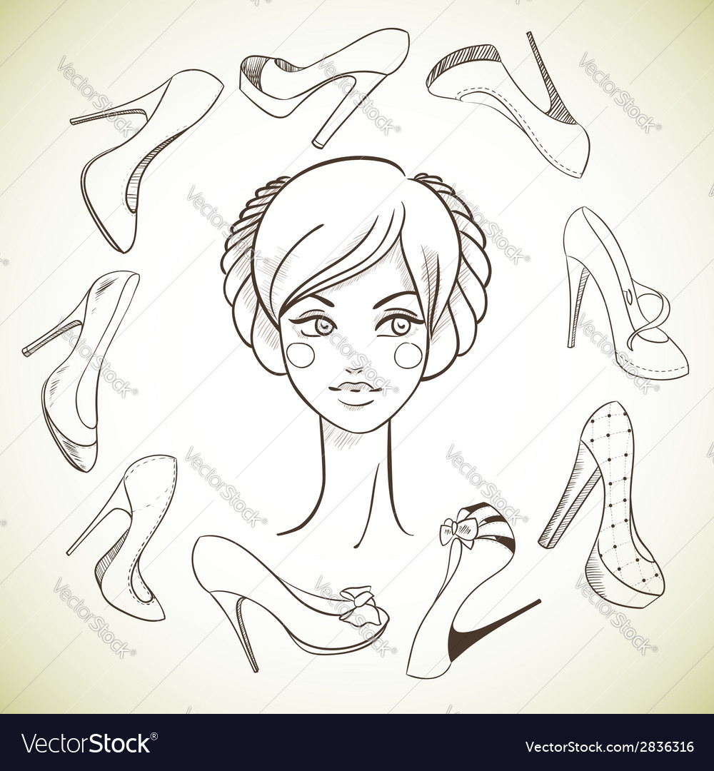 Girl and shoes sketch style vector | Price: 1 Credit (USD $1)