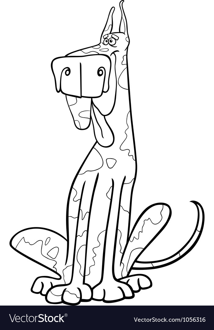 Harlequin dog cartoon for coloring vector | Price: 1 Credit (USD $1)
