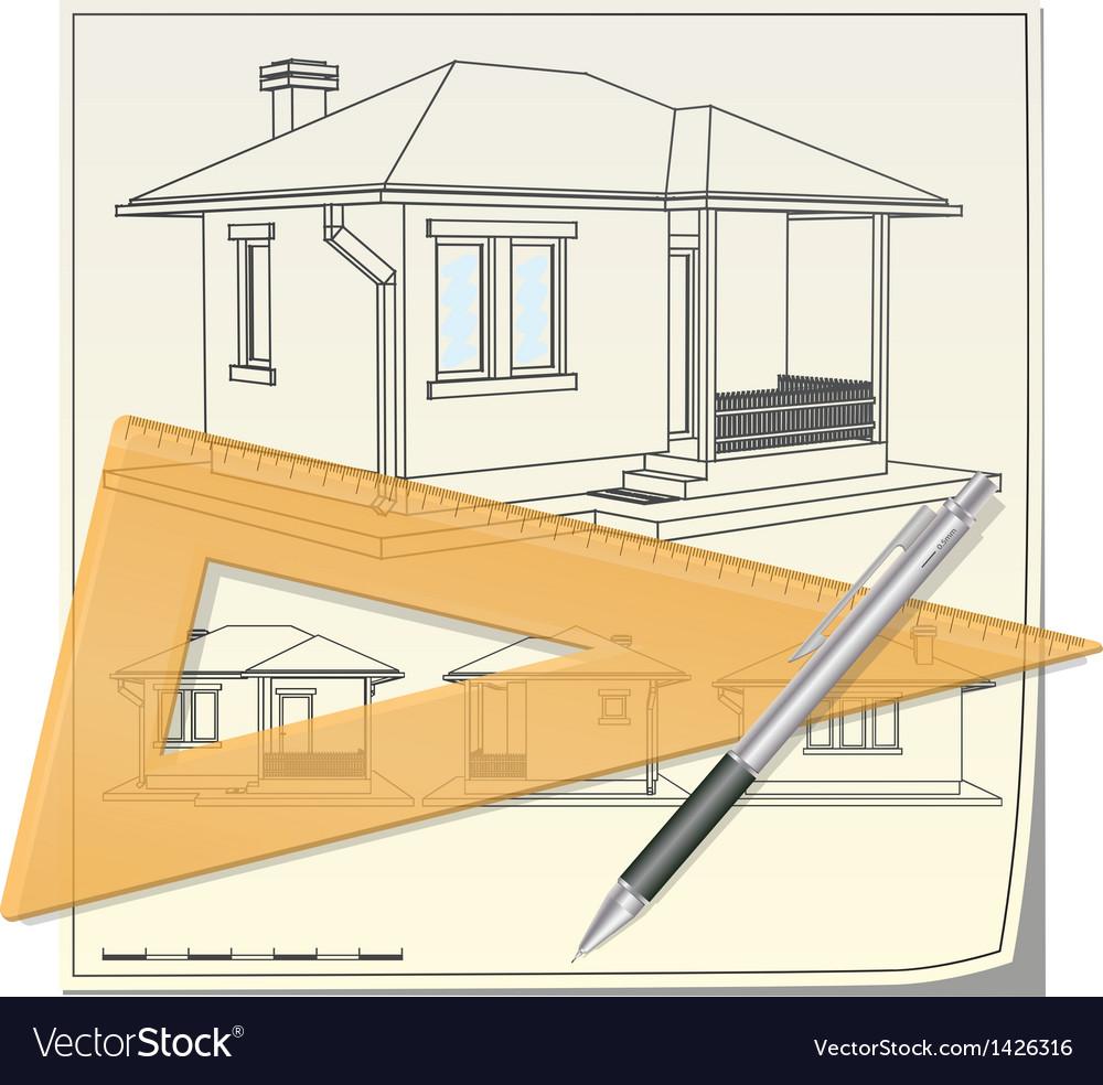 House blueprint vector | Price: 1 Credit (USD $1)