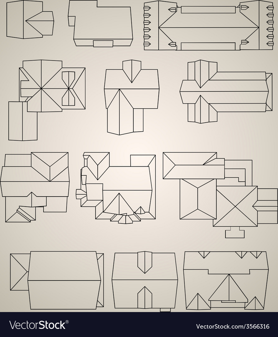 Set of houses top view vector | Price: 1 Credit (USD $1)