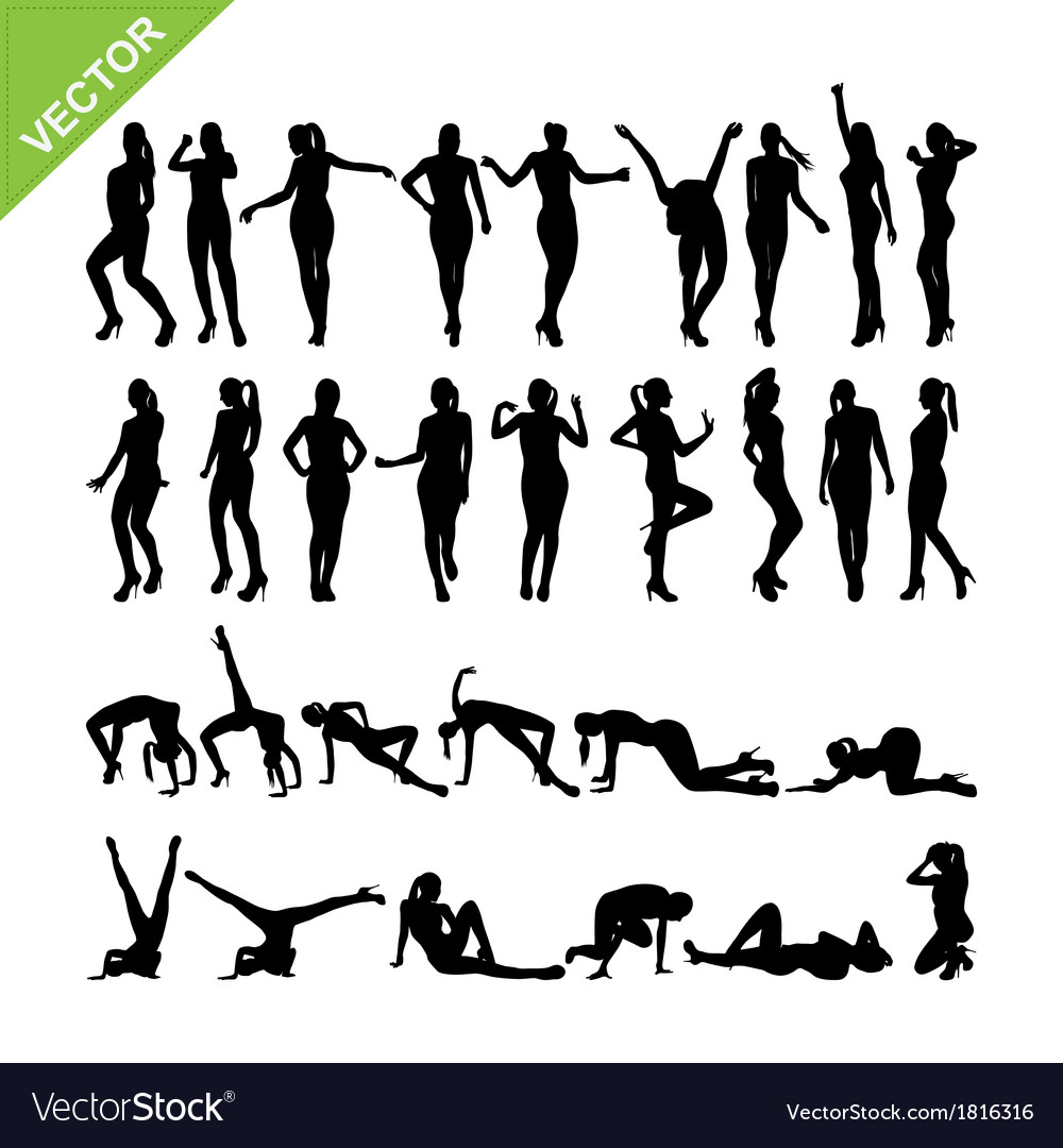 Sexy women and dancing silhouettes set 14 vector | Price: 1 Credit (USD $1)