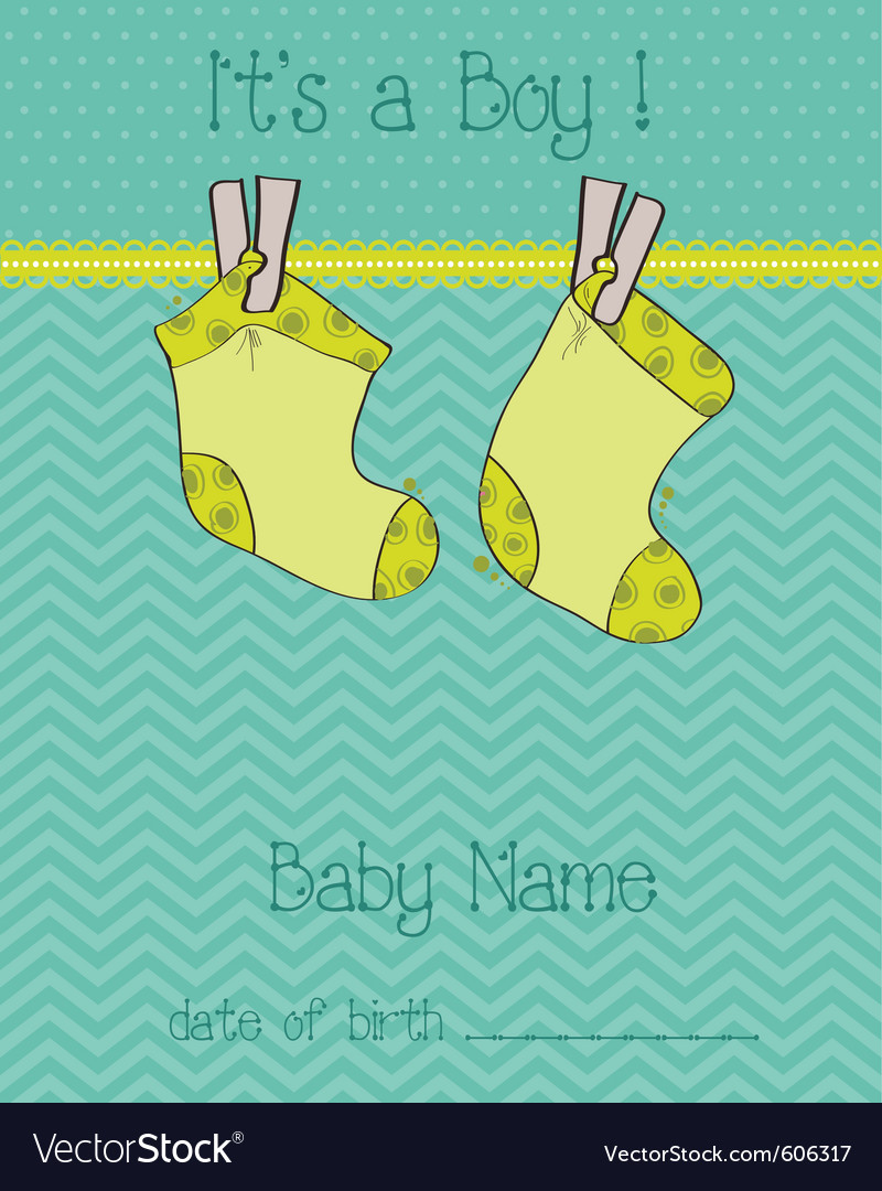 Baby boy arrival card with socks vector | Price: 1 Credit (USD $1)